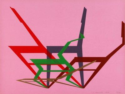 Stefan Wewerka Grafik Siebdruck Dynamische Stühle