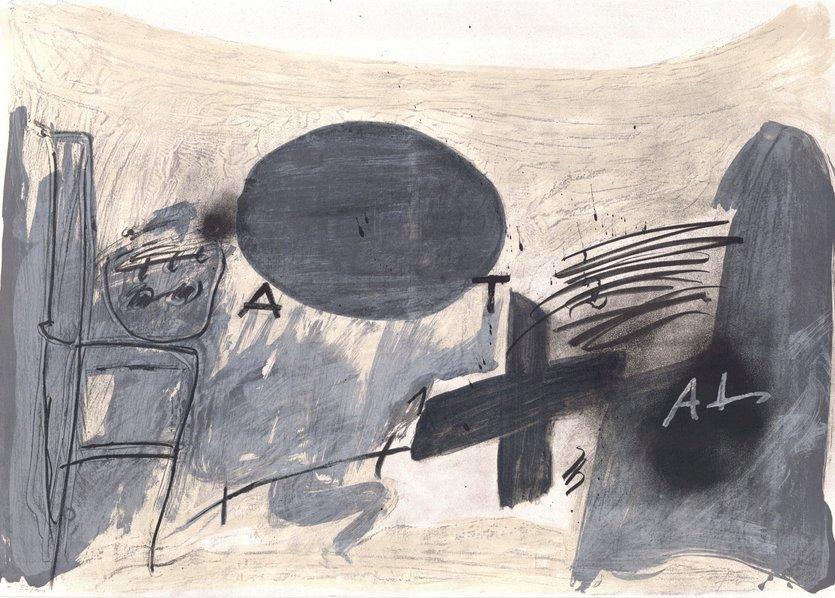 Antoni Tapies Original Print Oval Gris