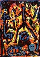 A.R. Penck Bild Grafik Lithographie Flammen