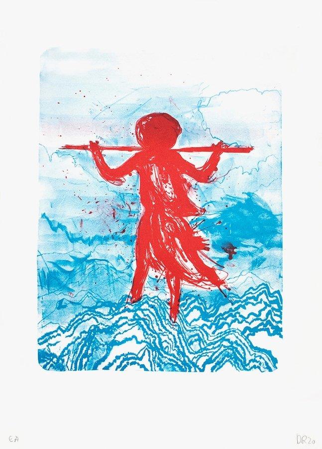 Daniel Richter Storm (rot) Grafik Lithografie