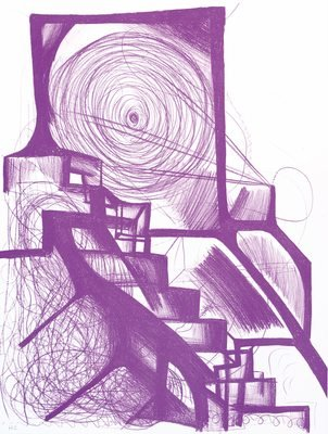 Joanne Greenbaum Untitled Purple Print Lithograph