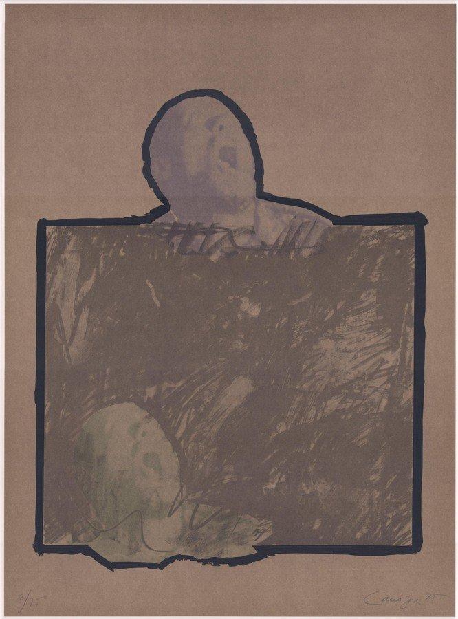 Rafael Canogar Original Grafik Komposition mit Kopf