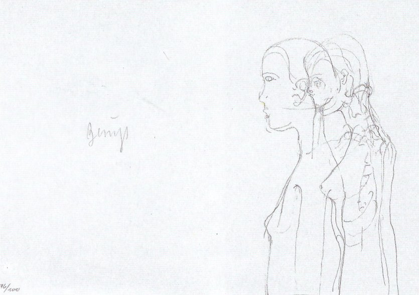 Joseph Beuys Grafik Granolithographie Leonardo Codice Madrid II