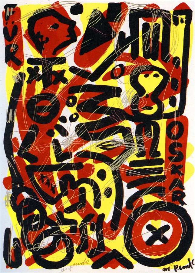A.R. Penck Grafik Serigraphie Für Oskar