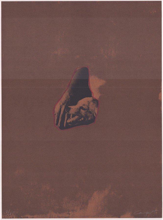Rafael Canogar Lithographie Komposition mit Hund