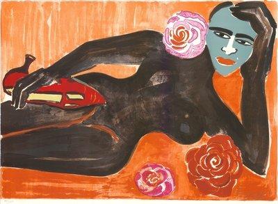 Elvira Bach Selbst mit Maske Grafik Lithographie
