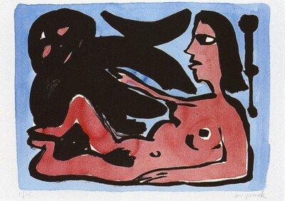 A.R. Penck Print Lithograph Frau mit Dämon (blue/red)