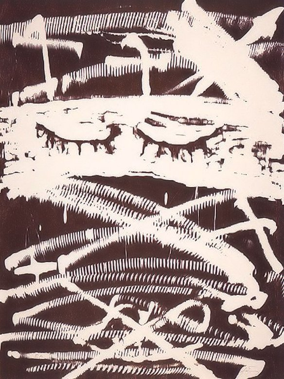 Antoni Tapies Holzschnitt Gegen die Folter
