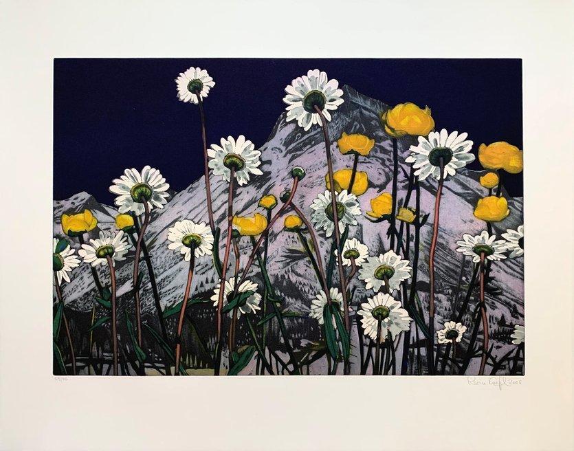 Karin Kneffel Radierung Grafik Blumen