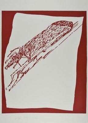Joseph Beuys Hirsch auf Urschlitten Grafik Siebdruck