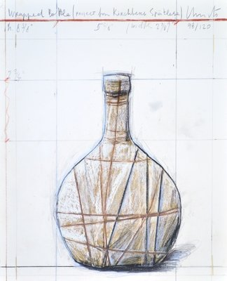 Christo Wrapped bottle Collage Grafik