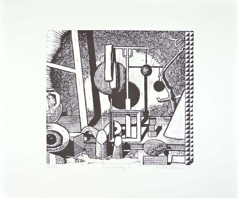 Matthias Weischer Grafik Edition Sammlung Linolschnitt