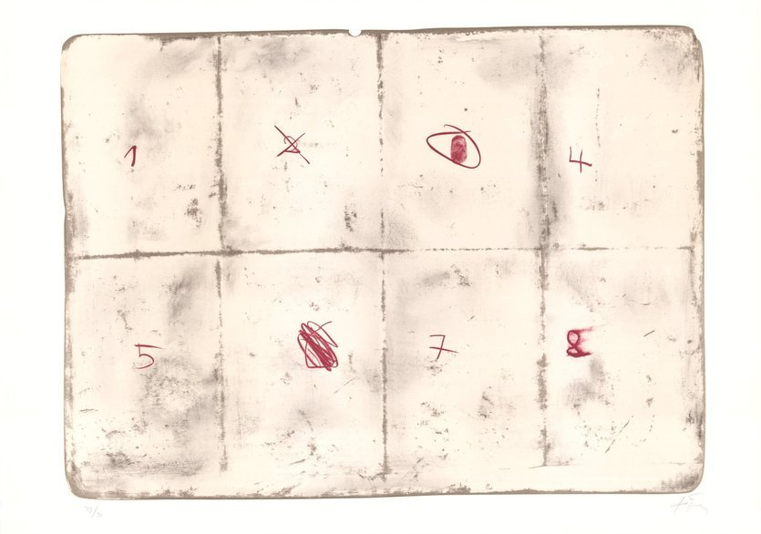 Antoni Tapies Grafik Toile pliee et chiffres