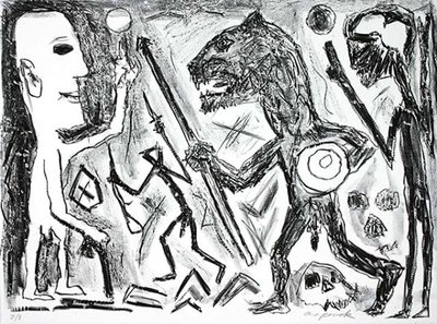 A.R. Penck Print Lithograph Homer and Aristoteles