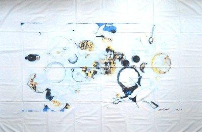Daniel Spoerri Fallenbild Tisch im Schnee auf Leinen