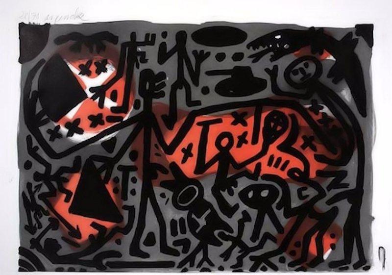 A.R. Penck Lausanne 3 Kämpfer Grafik Lithographie