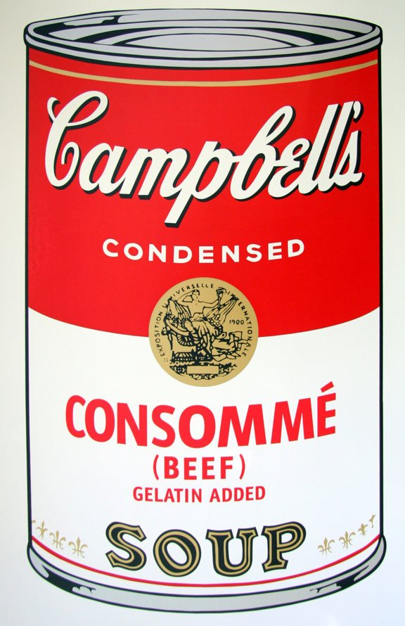 Andy Warhol Campbells Soup Consomme Serigraph Sunday B. Morning