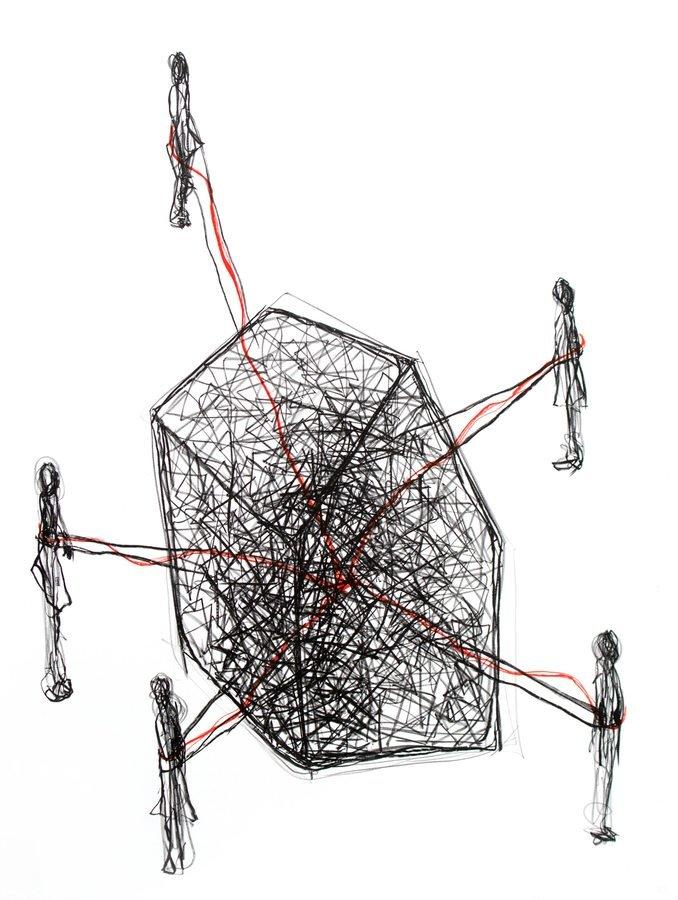 Chiharu Shiota Follow the Line Grafik Lithographie