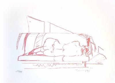 Norbert Tadeusz Lithographie Grafik Rückenakt II