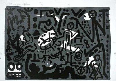 A.R. Penck Lithographie Grafik Lausanne 4 Hände auf den Tisch