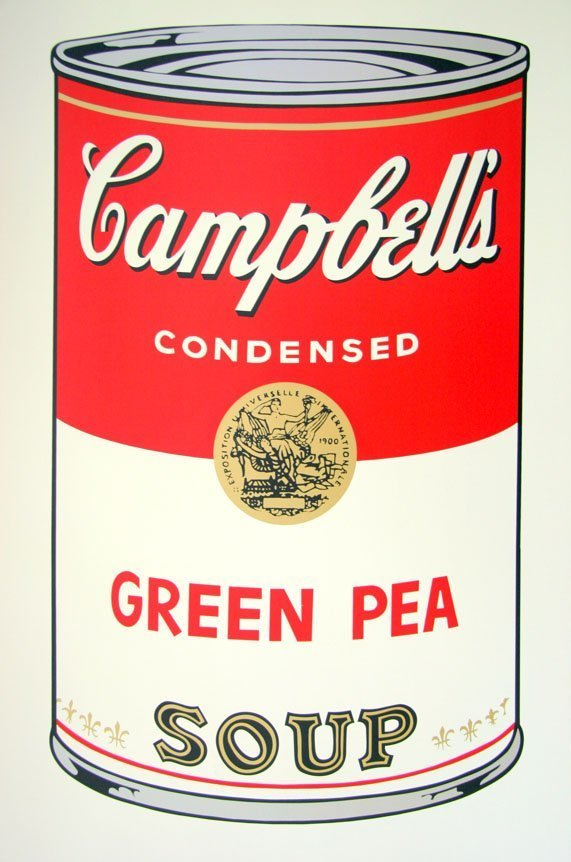 Andy Warhol Campbells Soup Green Pea Siebdruck Sunday B. Morning