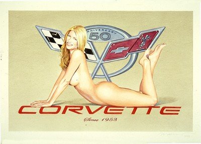 Mel Ramos Corvette Lithografie Grafik