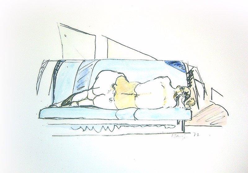 Norbert Tadeusz Unikat Aquarell Rückenakt
