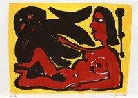 A.R. Penck Grafik Lithographie Frau mit Dämon (gelb/rot)