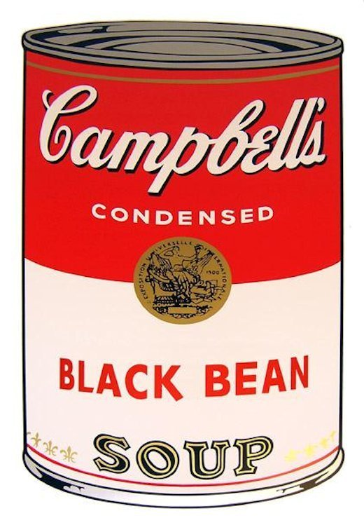 Andy Warhol Campbells Soup Black Bean Serigraph Sunday B. Morning