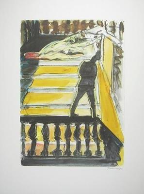Norbert Tadeusz Grafik  o.T. Mann auf Balustrade betrachtet Akt