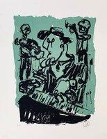 Markus Lüpertz Grafik Siebdruck Jazz in Dreieich