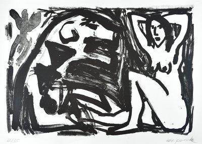 A.R. Penck Lithographie Grafik Große Sitzende