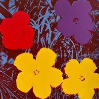 Andy Warhol Flowers Serigraph Sunday B. Morning Black Yellow