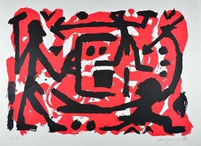 A.R. Penck Siebdruck Grafik Angriff und Verteidigung