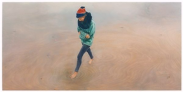 Christoph Pöggeler Original Print Mädchen am Meer