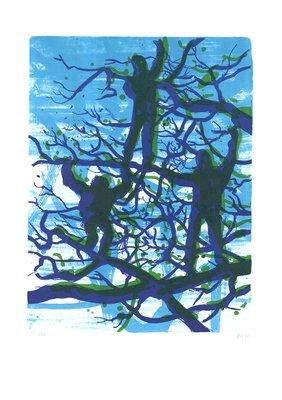 Daniel Richter Menschen im Baum Grafik Lithografie