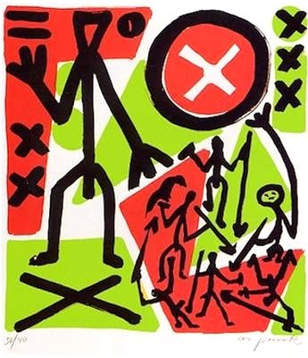 A.R. Penck So viel Anfang war nie Grafik Siebdruck