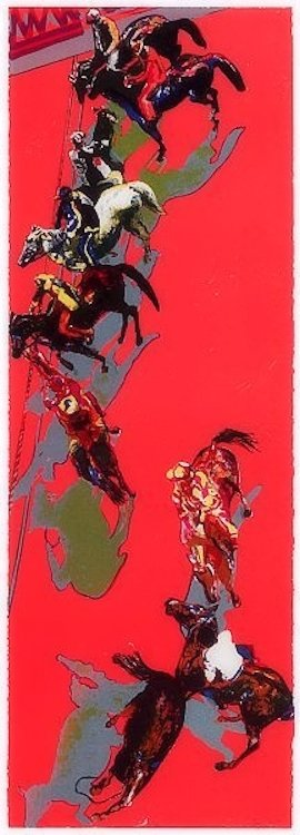 Norbert Tadeusz Print Lithograph Pferde in Rot