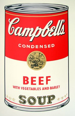 Andy Warhol Campbells Soup Beef Serigraph Sunday B. Morning