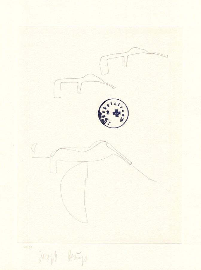 Joseph Beuys Lithographie Schwurhand: Eiszeit