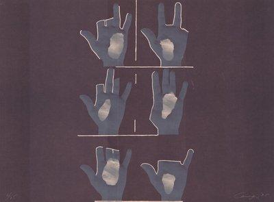 Rafael Canogar Lithographie Komposition mit Händen