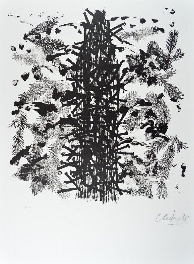 Günther Uecker Grafik Lithografie Natur - eine Studie