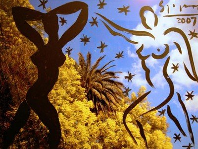 Stefan Szczesny Malerei auf Fotografie Mimosen in St Tropez