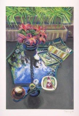 Norbert Tadeusz Overpainting Print Glastisch mit Blumen I