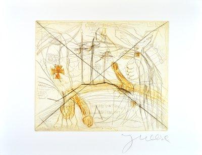 Jonathan Meese Grafik Radierung Zwei Schwänze für ein Halleluja