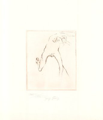 Joseph Beuys Radierung Schwurhand: Frau rennt weg mit Gehirn