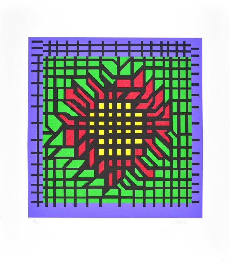 Victor Vasarely Lithograph Print Kat-Zag