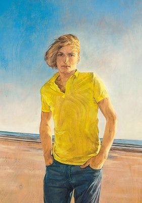 Christoph Pöggeler Lithographie Grafik Boy on the Beach