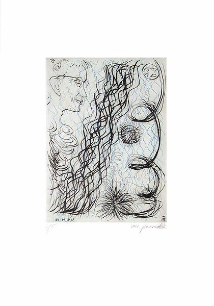 A.R. Penck Grafik Radierung Jetset 4 Brillenträger